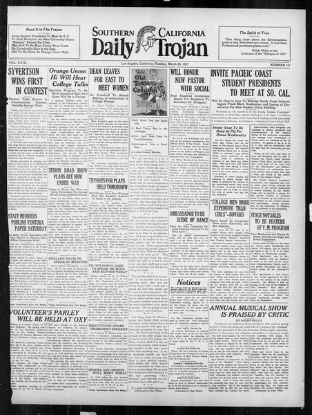 Daily Trojan, Vol. 18, No. 111, March 29, 1927