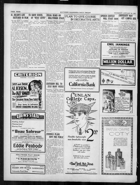 Daily Trojan, Vol. 19, No. 73, January 26, 1928