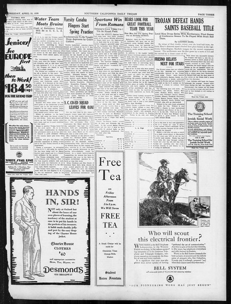 Daily Trojan, Vol. 19, No. 120, April 25, 1928