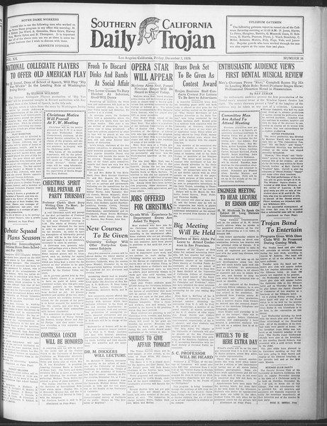 Daily Trojan, Vol. 20, No. 56, December 07, 1928