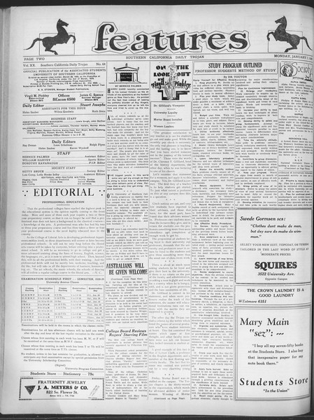 Daily Trojan, Vol. 20, No. 64, January 07, 1929