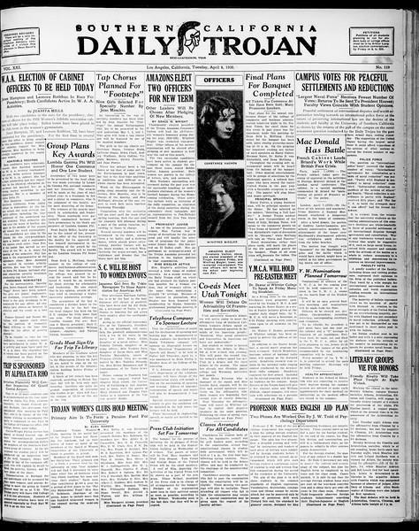 Southern California Daily Trojan, Vol. 21, No. 119, April 08, 1930