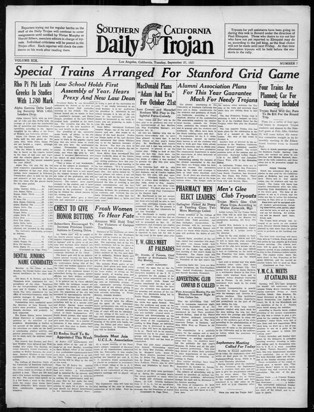 Daily Trojan, Vol. 19, No. 7, September 27, 1927