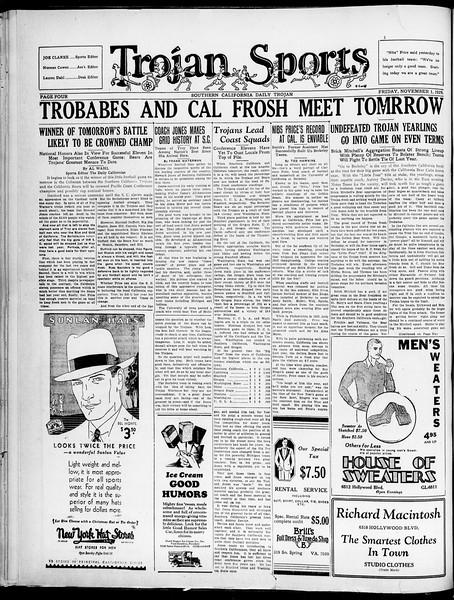 Southern California Daily Trojan, Vol. 21, No. 34, November 01, 1929