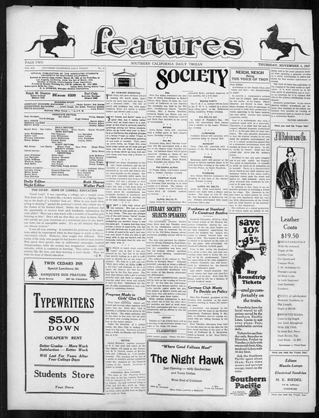 Daily Trojan, Vol. 19, No. 34, November 03, 1927