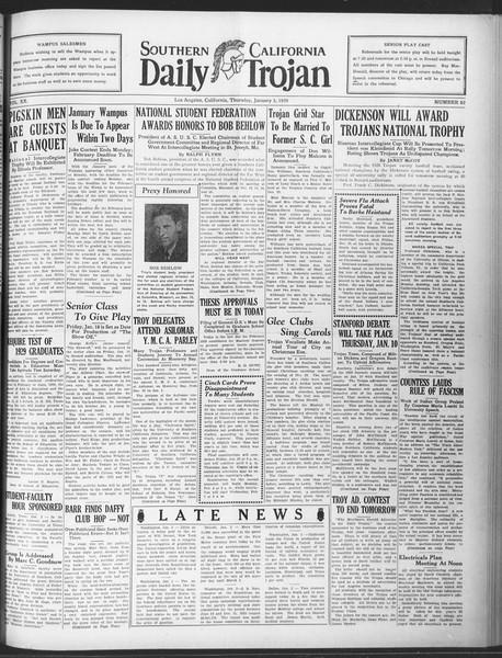 Daily Trojan, Vol. 20, No. 62, January 03, 1929