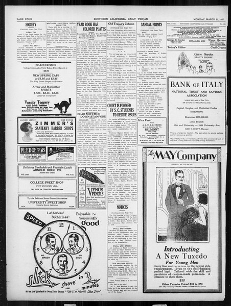 Daily Trojan, Vol. 18, No. 105, March 21, 1927