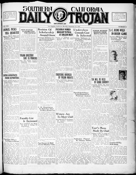 Southern California Daily Trojan, Vol. 21, No. 10, September 30, 1929