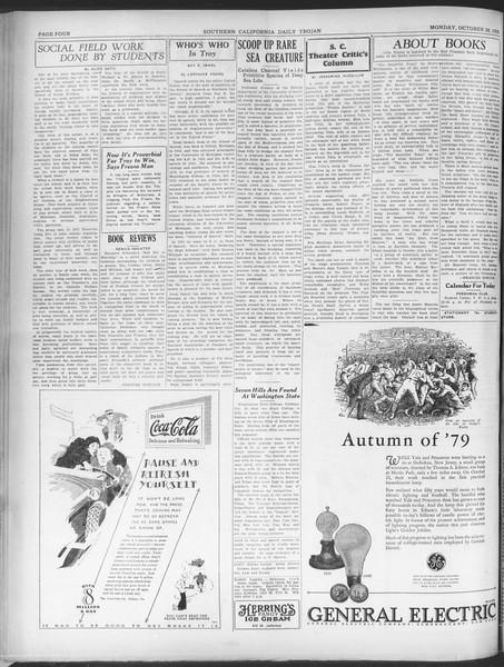 Southern California Daily Trojan, Vol. 21, No. 30, October 28, 1929
