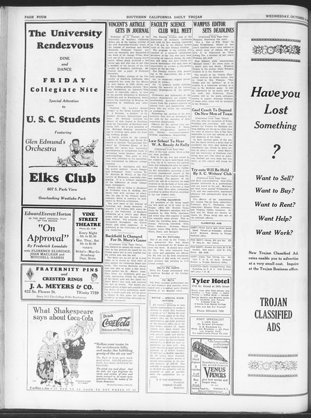 Daily Trojan, Vol. 20, No. 19, October 10, 1928