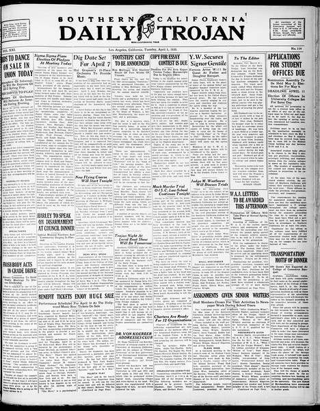 Southern California Daily Trojan, Vol. 21, No. 114, April 01, 1930