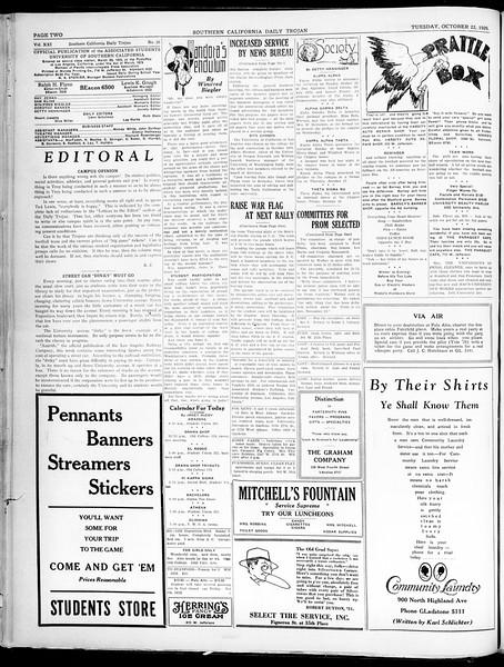 Southern California Daily Trojan, Vol. 21, No. 26, October 22, 1929