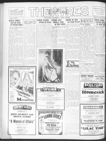 Daily Trojan, Vol. 20, No. 63, January 04, 1929