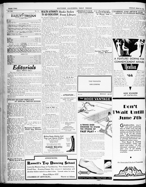 Southern California Daily Trojan, Vol. 21, No. 145, May 23, 1930
