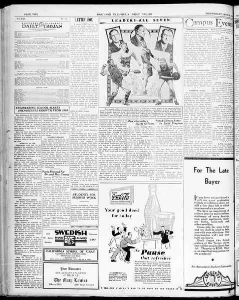 Southern California Daily Trojan, Vol. 21, No. 148, May 28, 1930
