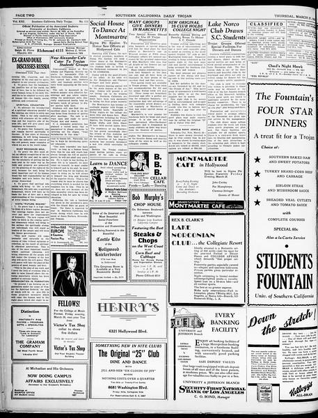 Southern California Daily Trojan, Vol. 21, No. 111, March 27, 1930