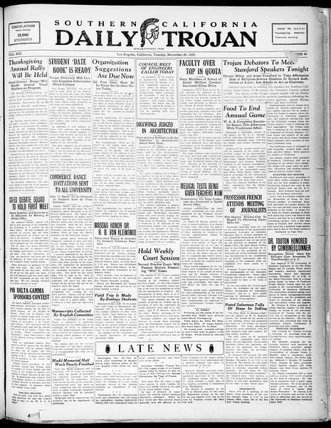 Southern California Daily Trojan, Vol. 21, No. 49, November 26, 1929