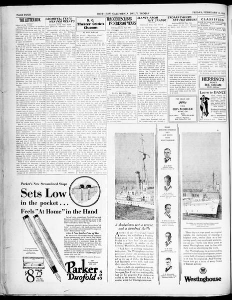 Southern California Daily Trojan, Vol. 21, No. 82, February 14, 1930