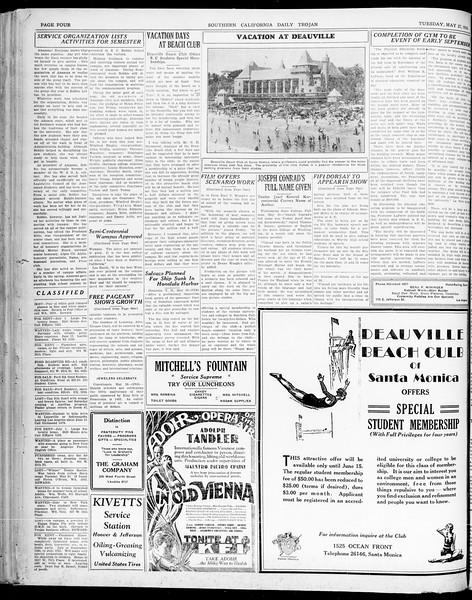 Southern California Daily Trojan, Vol. 21, No. 147, May 27, 1930
