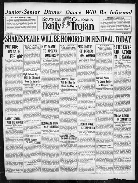 Daily Trojan, Vol. 19, No. 123, April 30, 1928