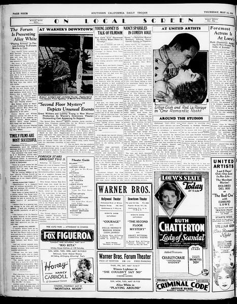 Southern California Daily Trojan, Vol. 21, No. 139, May 15, 1930