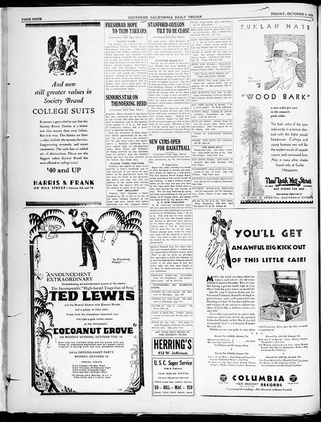 Southern California Daily Trojan, Vol. 21, No. 14, October 04, 1929