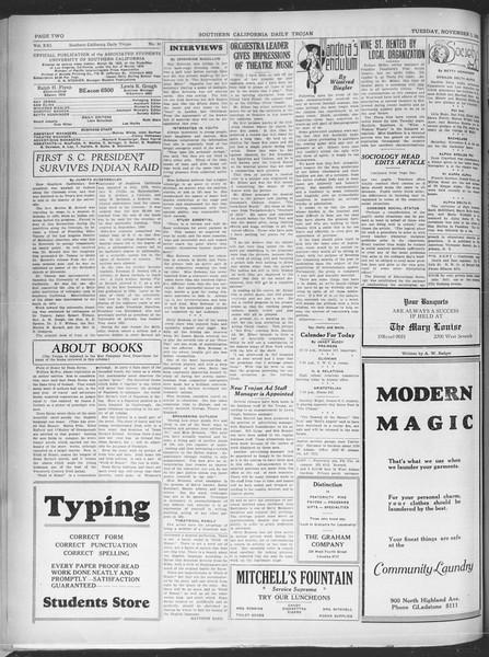 Southern California Daily Trojan, Vol. 21, No. 36, November 05, 1929