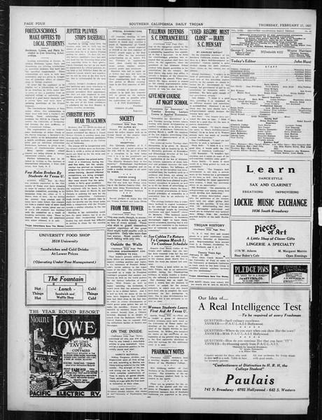 Daily Trojan, Vol. 18, No. 83, February 17, 1927