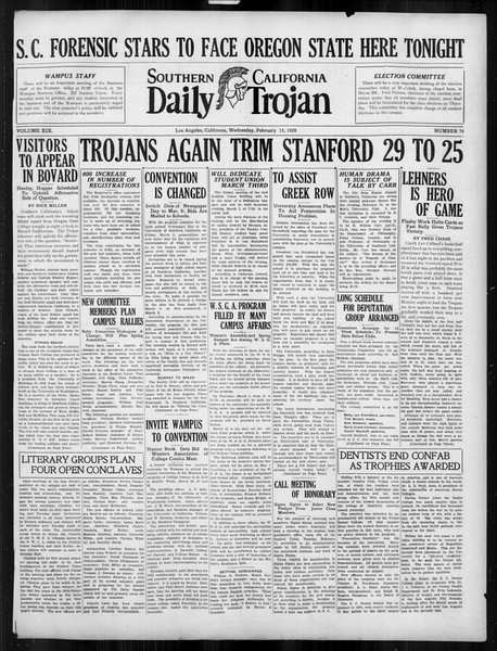 Daily Trojan, Vol. 19, No. 79, February 15, 1928