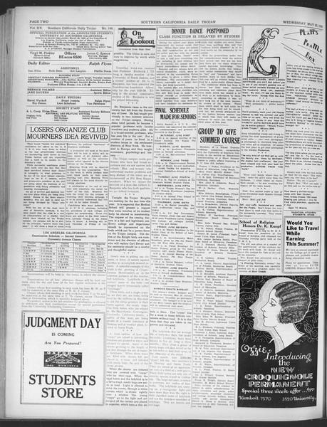 Daily Trojan, Vol. 20, No. 146, May 22, 1929