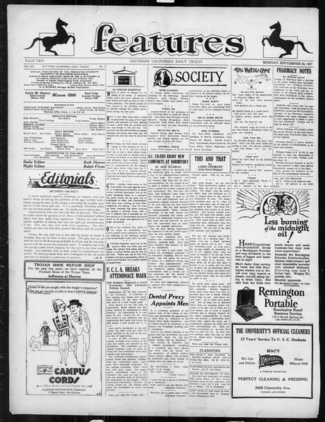 Daily Trojan, Vol. 19, No. 6, September 26, 1927