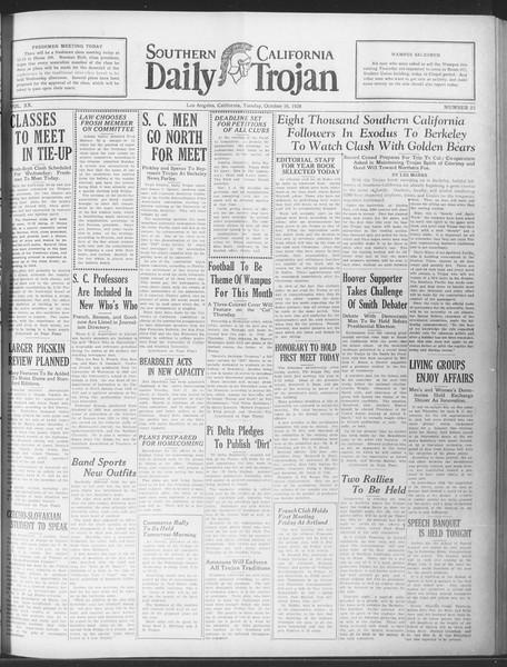 Daily Trojan, Vol. 20, No. 23, October 16, 1928