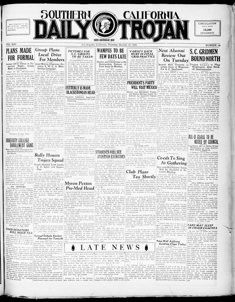 Southern California Daily Trojan, Vol. 21, No. 18, October 10, 1929