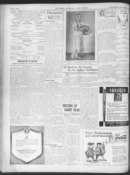 Daily Trojan, Vol. 20, No. 43, November 14, 1928