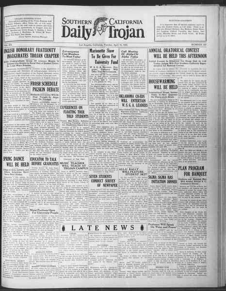 Daily Trojan, Vol. 20, No. 120, April 16, 1929