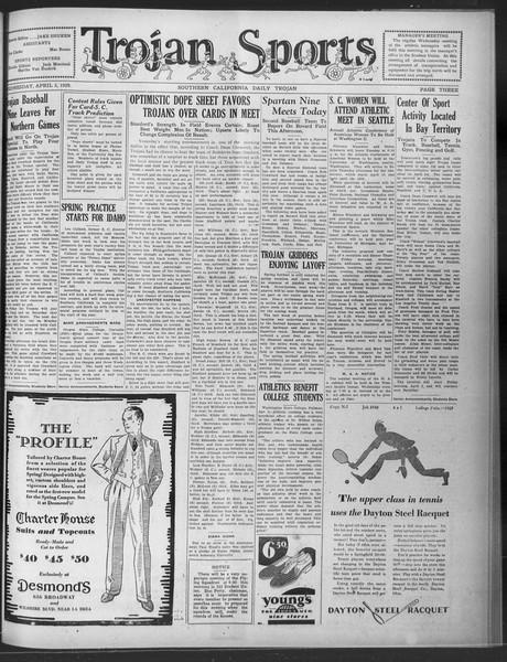 Daily Trojan, Vol. 20, No. 112, April 03, 1929