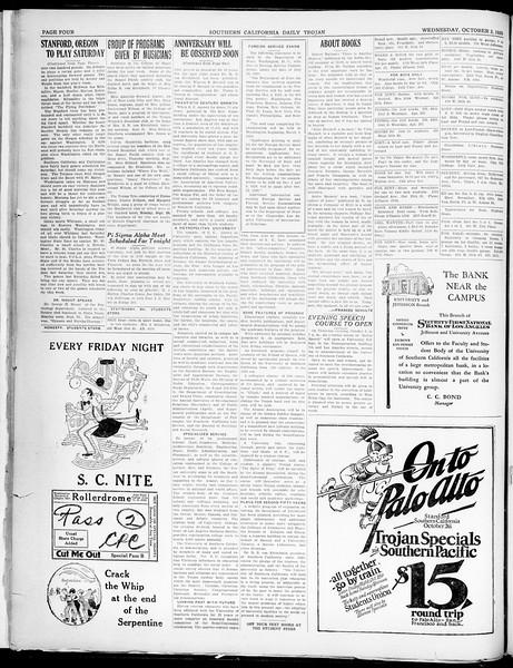 Southern California Daily Trojan, Vol. 21, No. 12, October 02, 1929