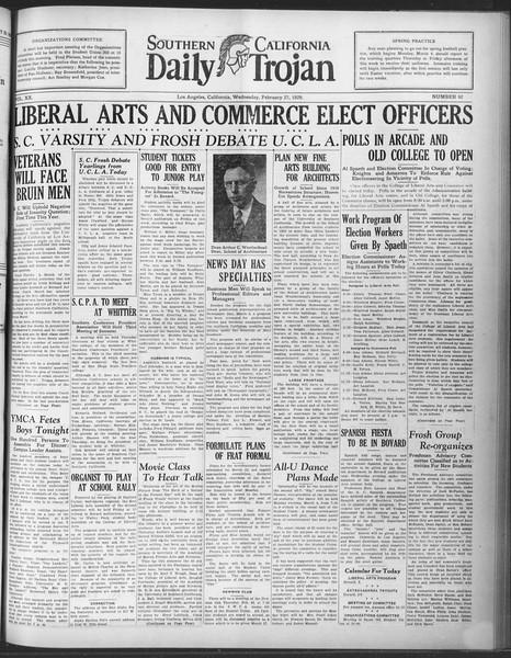 Daily Trojan, Vol. 20, No. 92, February 27, 1929