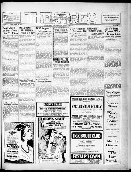 Southern California Daily Trojan, Vol. 21, No. 69, January 16, 1930