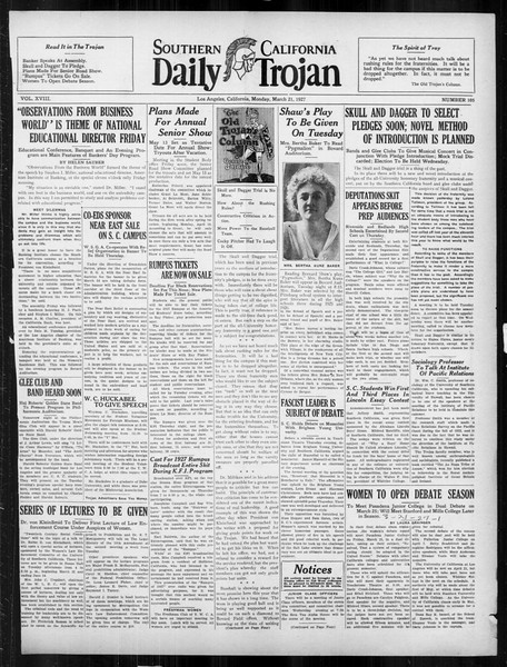 Daily Trojan, Vol. 18, No. 105, March 21, 1927