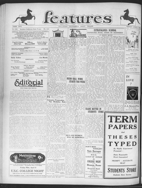 Daily Trojan, Vol. 20, No. 114, April 05, 1929