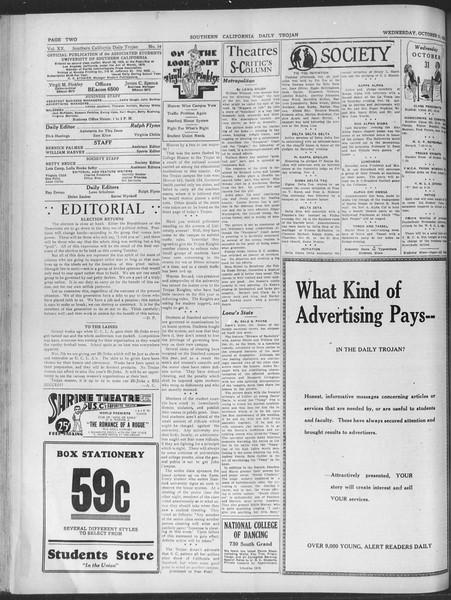 Daily Trojan, Vol. 20, No. 34, October 31, 1928