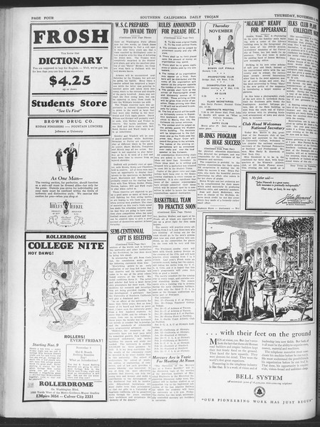 Daily Trojan, Vol. 20, No. 40, November 08, 1928