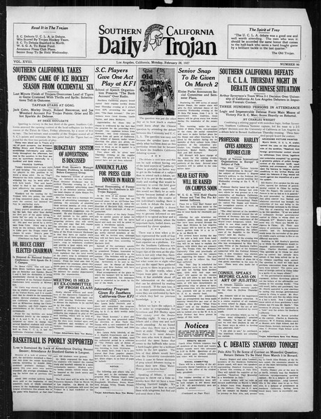 Daily Trojan, Vol. 18, No. 90, February 28, 1927