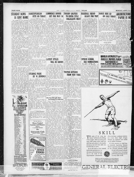 Daily Trojan, Vol. 19, No. 123, April 30, 1928
