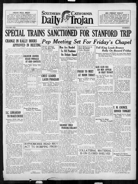 Daily Trojan, Vol. 19, No. 8, September 28, 1927