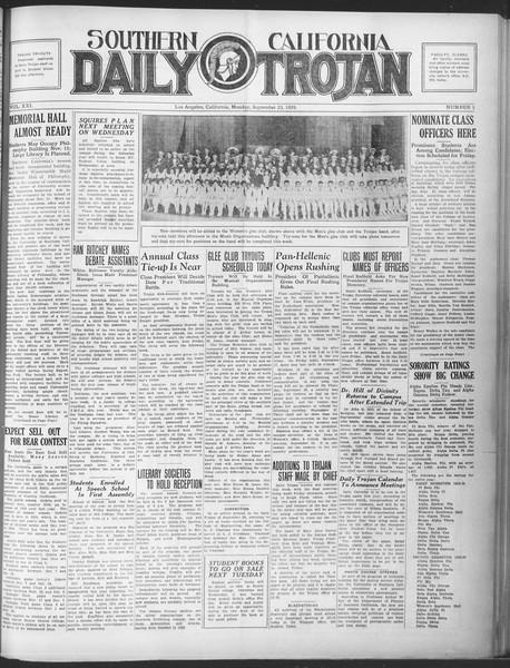 Southern California Daily Trojan, Vol. 21, No. 5, September 23, 1929