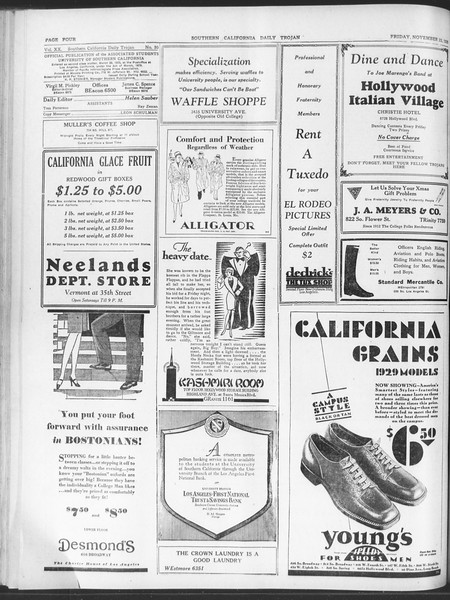 Daily Trojan, Vol. 20, No. 50, November 23, 1928