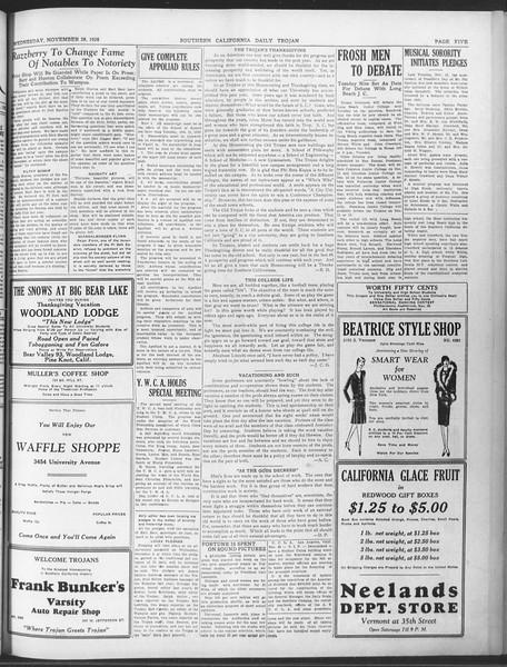 Daily Trojan, Vol. 20, No. 53, November 28, 1928