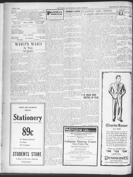 Southern California Daily Trojan, Vol. 21, No. 7, September 25, 1929